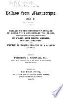 Ballads from Manuscripts Book