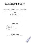 Beranger's Lieder in den Versmassen des Originals