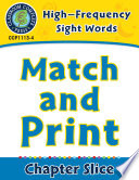 High Frequency Sight Words  Match and Print Book