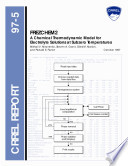 FREZCHEM2  A Chemical Thermodynamic Model for Electrolyte Solutions at subzero Temperatures
