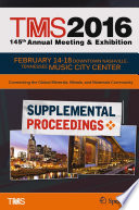 TMS 2016 145th Annual Meeting   Exhibition  Annual Meeting Supplemental Proceedings