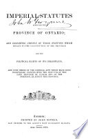 Imperial Statutes Affecting the Province of Ontario Book