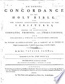 An Useful Concordance To The Holy Bible By The Rev Vavasor Powell The Third Edition Accurately Revised Also An Account Of The Author By A Minister Of The Gospel Book