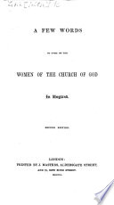 A Few Words to some of the women of the Church of God in England  Second edition
