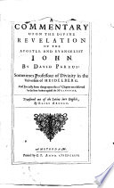 A Commentary Upon The Divine Revelation Of The Apostle And Evangelist John