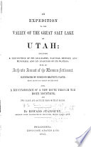 An Expedition To The Valley Of The Great Salt Lake