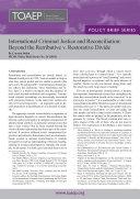 International Criminal Justice and Reconciliation