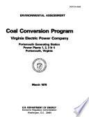 Portsmouth Generating Station Virginia Electric Power Company Powerplants No 1 4 Coal Conversion Program Portsmouth Environmental Assessment Ea