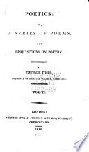 Poetics Or A Series Of Poems And Disquisitions On Poetry  Book