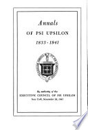 Annals Of Psi Upsilon 1833 1941
