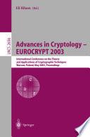 Advances in Cryptology     EUROCRYPT 2003