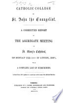 Catholic College of St  John the Evangelist      Report of the aggregate meeting in St  Mary s Cathedral