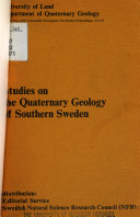 Pdf Studies on the Quaternary Geology of Southern Sweden