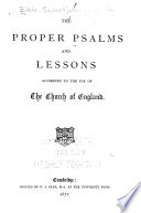 Proper Psalms And Lessons According To The Use Of The Church Of England Book PDF