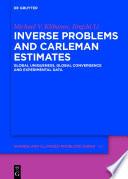 Inverse Problems And Carleman Estimates