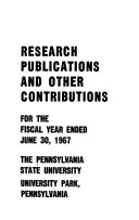 Research Publications And Other Contributions