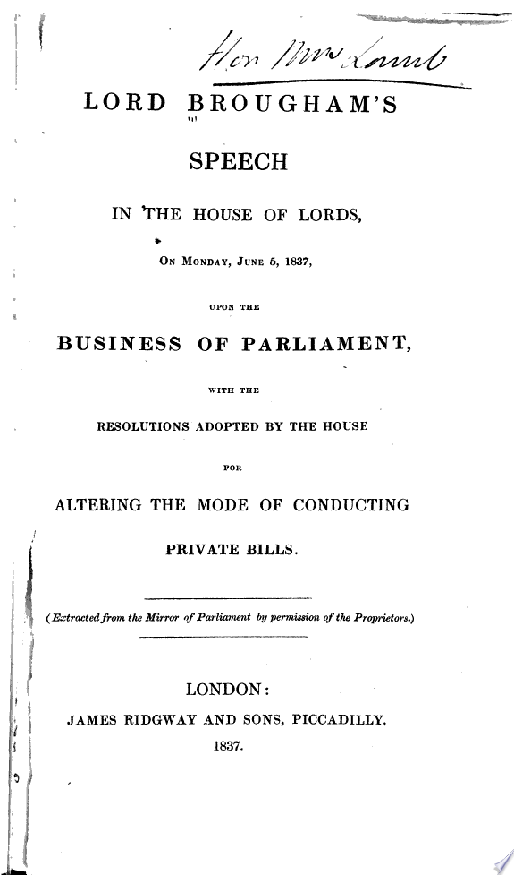 Lord Brougham s speeches in 1837   1838