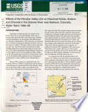 Effects of the Paradox Valley Unit on Dissolved Solids  Sodium  and Chloride in the Dolores River Near Bedrock  Colorado  Water Years 1988 98