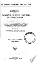 First Deficiency Appropriation Bill 1926