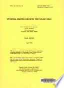 Epitaxial Silicon Growth for Solar Cells