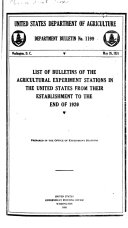 List Of Bulletins Of The Agricultural Experiment Stations