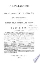 Catalogue of the Mercantile Library of Brooklyn  A C