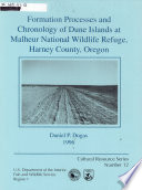 Formation Processes and Chronology of Dune Islands at Malheur National Wildlife Refuge, Harney County, Oregon