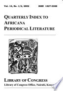 Quarterly Index to Africana Periodical Literature