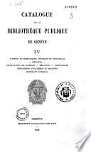 Catalogue de la bibliothèque publique de Genève