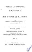 Critical And Exegetical Hand Book To The Gospel Of Matthew Translation Revised And Edited By William Stewart
