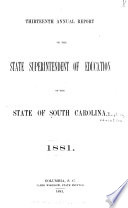 Annual Report of the State Superintendent of Education of the State of South Carolina