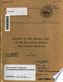 Geology Of The Central Part Of The Iron River District Iron County Michigan