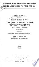 Agriculture, Rural Development, and Related Agencies Appropriations for Fiscal Year 1980