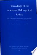 Proceedings, American Philosophical Society (vol. 141, No. 2, 1997)