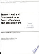 Environment and Conservation in Energy Research and Development Book