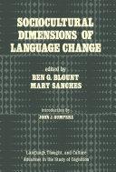 Pdf Sociocultural Dimensions of Language Change Telecharger