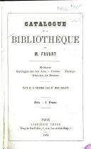 Catalogue des livres de la bibliothèque de M. Favart