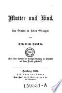 Mutter Und Kind Ein Gedicht In Sieben Gesängen Friedrich