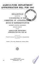 Agriculture Department Appropriation Bill for 1947