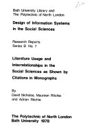 Literature Usage and Interrelationships in the Social Sciences as Shown by Citations in Monographs