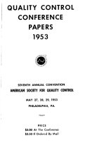 Annual Technical Conference Transactions   American Society for Quality Control Book