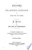 Reasons for Abjuring Allegiance to the See of Rome
