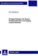 Anlagestrategien für Aktien-Publikumsfonds in emerging capital markets