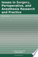 Issues In Surgery Perioperative And Anesthesia Research And Practice 2011 Edition Book PDF