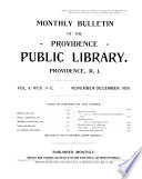 Monthly Bulletin of the Providence Public Library