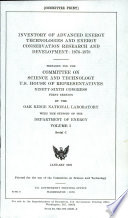 Inventory Of Advanced Energy Technologies And Energy Conservation Research And Development 1976 1978