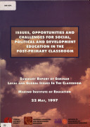 Pdf Seminar Papers: Issues, Opportunities and Challenges for Social, Political and Development Education in the Post-Primary Classroom