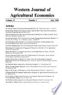 Western Journal of Agricultural Economics