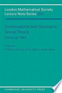 Combinatorial And Geometric Group Theory Edinburgh 1993
