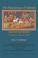 The R  m  ya   a of V  lm  ki  An Epic of Ancient India  Volume VI